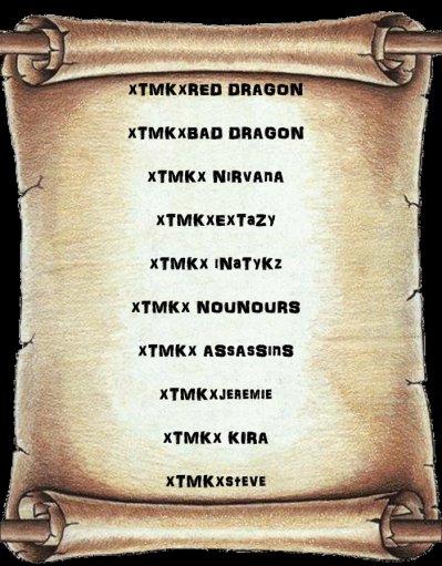 Liste Des Membres De La Team xTMKx ( Team Mexican Killer ) !