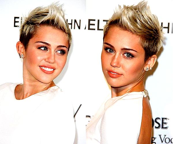 . Miley était comme chaque année à l'after-party des Oscars de Elton John, ce Dimanche 24 Février .  C'est un très beau TOP en ce qui me concerne ! Miley est ravissante et très élégante dans cette belle robe blanche, ce style est classe et lui va vraiment à ravir. :) Je trouve un peu dommâge le fait qu'elle ne puisse plus trop varier ses coiffures en raison de sa coupe de cheveux, il n'y a malheureusement pas trop d'originalité de ce côté là par rapport aux autres derniers évennements..
