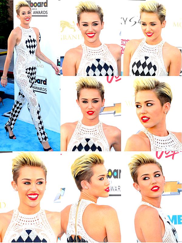 """. Miley s'est rendue à la cérémonie des """"Bilboard Music Awards"""", à Las Vegas, ce Dimanche 19 Mai .  Pas de performence sur """"We Can't Stop"""" comme les rumeurs l'avaient prétendu, mais Mil' a profité de l'évennement pour révéler publiquement que son nouveau single serait diffusé pour la première fois à la radio de Ryan Seacrest le 3 Juin prochain !! Côté tenue, la jeune femme avait revêtu une combinaison Balmain couverte de motifs en forme de losanges. Personnellement j'aime assez, et je trouve Miley toujours aussi classe avec ce genre de make-up et les cheveux en arrière. Je lui accorde donc un TOP.♥ ."""