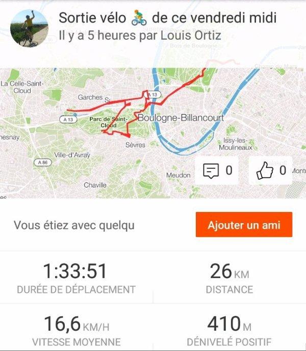 Sortie vélo du vendredi midi 15 juin 2018