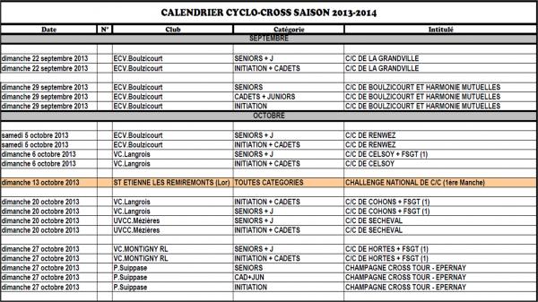 CALENDRIER CYCLO CROS CA 2013-2014