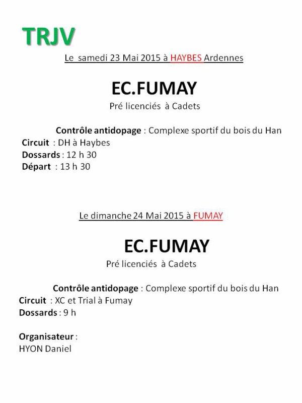 samedi 23 mai et dimanche 24 mai TRJV de Fumay