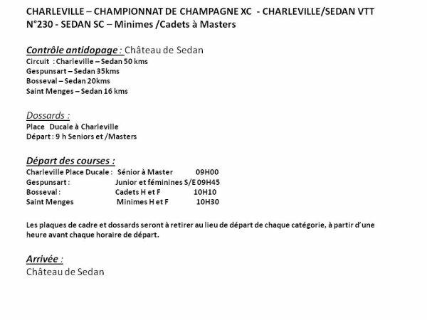 Championnat de Champagne XC dimanche 7 juin 2015 à Charleville