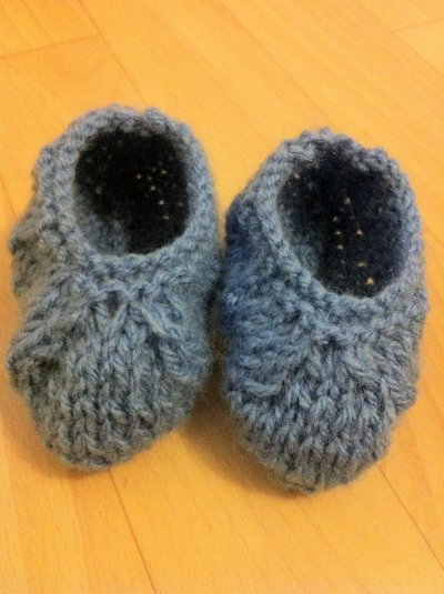 Chausson bébé garçon que j'ai tricoter avec de la laine de qualité