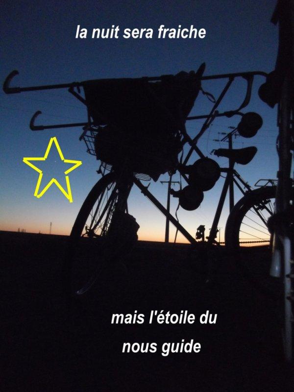 arret d'urgence lors d'un retour au crépuscule (vu le ciel la nuit sera fraiche ... suivons l'étoile du berger ...)