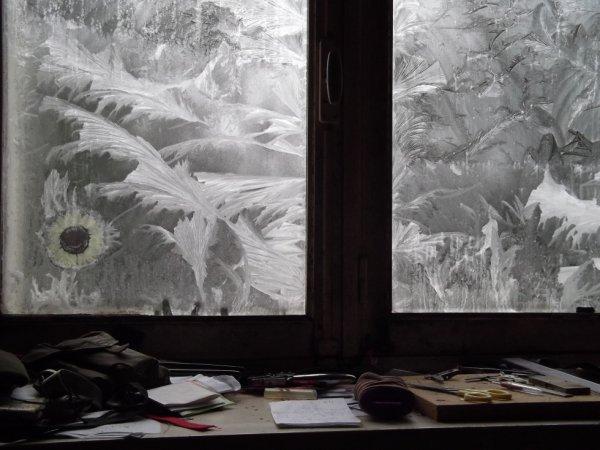 19 JAN le gel sur les vitres
