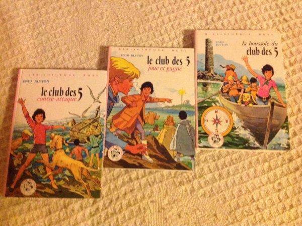 Livres bibliothèque rose - le clan des 7, club des 5, Lili, Fantomette