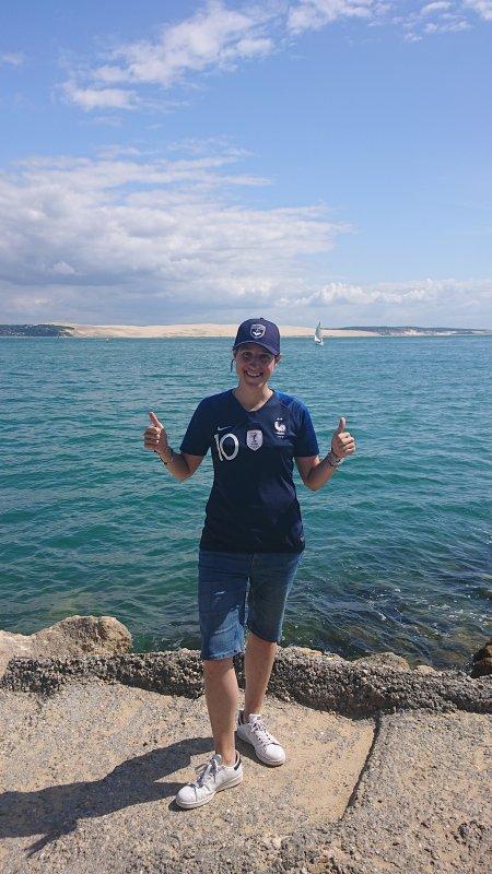 Moi au Cap Ferret avec la vue sur la Dune du Pilat