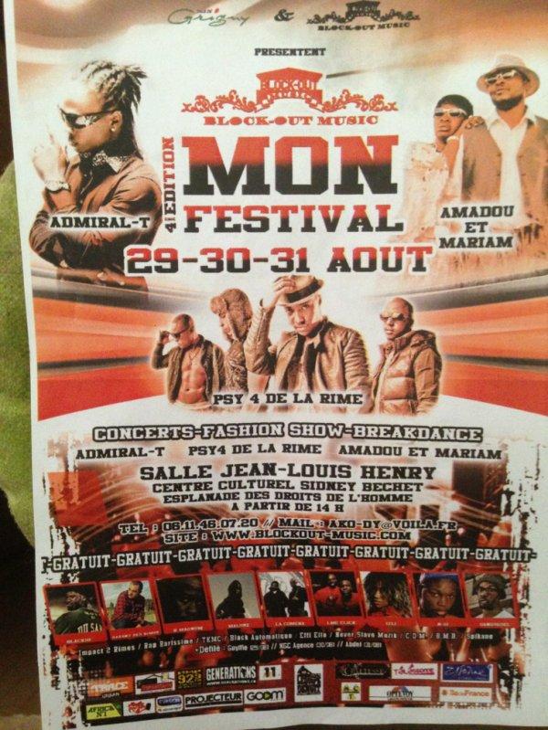 Mon. Festival.  Block Out. Music.   Du. 29 30 31 sur Grigny 91