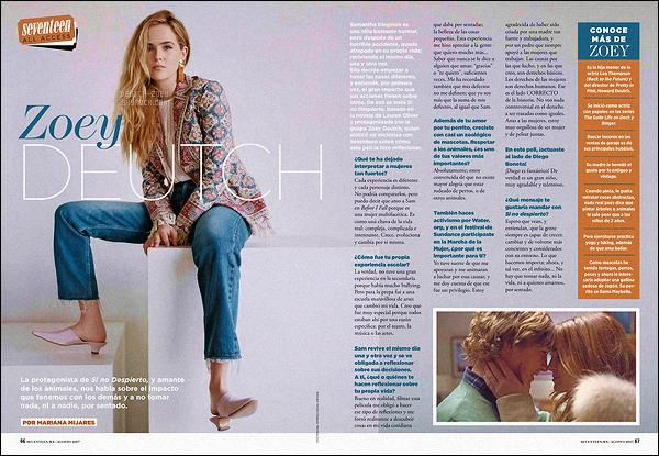 La miss Zoey Deutch apparaît dans le magazine Seventeen de Mexico pour le mois d'Août 2017. Découvrez donc une capture des deux pages consacrés à notre actrice. J'adore les deux images choisies, elle est superbe dessus. Qu'en pensez-vous ?