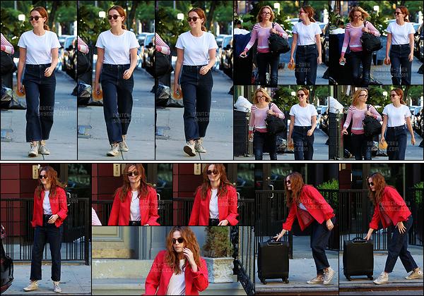 09 juillet 2017 : Zoey et sa maman Lea Thompson sont allées déjeuner au Banter à Greenwich Village dans New York. Par la suite, elle a été vue mettant sa valise dans une voiture. Niveau tenue, je n'aime pas trop. Le haut blanc est basique mais le pantalon est trop large.