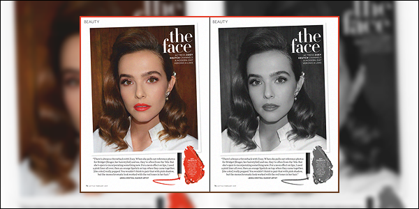 Notre jolie Zoey apparaît sur un article beauté du magazine Instyle pour février 2019.
