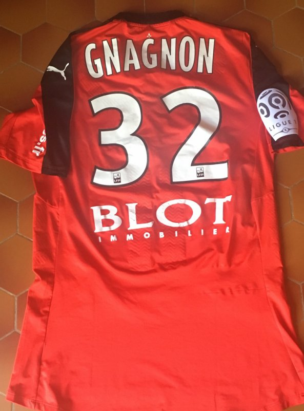 Maillot porté Joris Gnagnon avec Rennes