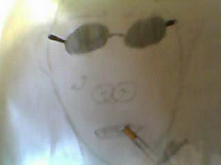 Dessin2:Vache fumen une cigareete avk une casquetee a l'envers(on ne la voix pas)