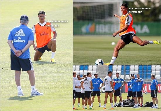 14/07/13 : Cristiano à la première session d'entraînement de la saison au Real Madrid  Elle a été précédé des tests médicaux auxquelles tous les joueurs ont été soumis ! Une première ,aussi, pour le nouvel entraîneur du Real : Carlo Ancelotti !