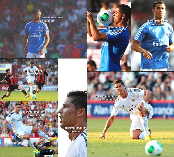 21/07/2013 : Cristiano est arrivé à Bournemouth, quittant l'aéroport, puis en bus devant le stade Goldsands, Bournemouth. Lui et le Real s'y sont rendu pour le match qu'ils disputeront ce soir contre AFC Bournemouth, le match est diffusé en France sur Bein Sport .