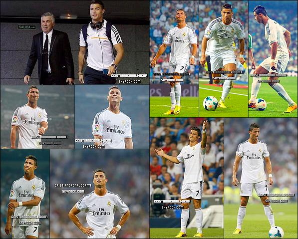 18/08/13: Arrivée de Cris' aux côtés de Carlo Ancellotti et des autres joueurs au stade Santiago Bernabéu.  Cris' a disputé son 200ème match avec le Real Madrid ! Le Real a disputé leur premier match de Liga face à Bétis Séville. Après l'égalisation de Benzema (26') Isco marque à son tour (86') et permet au Real de s'imposer 2-1. Mais aucun but de Cristiano :( :( :(