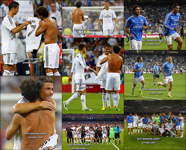 23/08/13 : Cristiano et le Real on disputé un match amical face à Al Sadd , et le Real s'est imposé 5-0 . Ce match était l'occasion de rendre hommage à l'ancien capîtaine du Real : Raùl . Pour le match , Iker Casillas lui a céder son brassard de capîtaine et Crist' son maillot n°7 pour rendre hommage à cette légende! Je suis assez déçu, Cris' n'a toujours pas marqué.