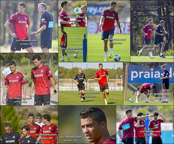 04/09/13 : C'est avec un grand sourire que Cristiano est de retour à l'entraînement avec l'équipe du Portugal .