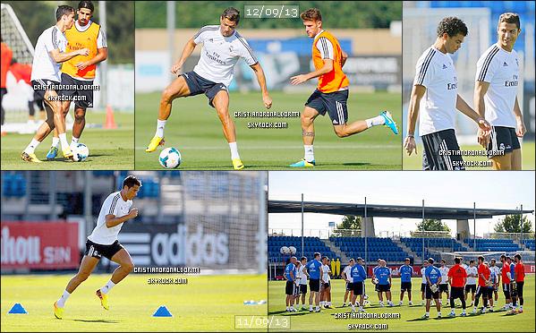 11/09/13 & 12/09/13 : Cristiano était à l'entraînement du Real .