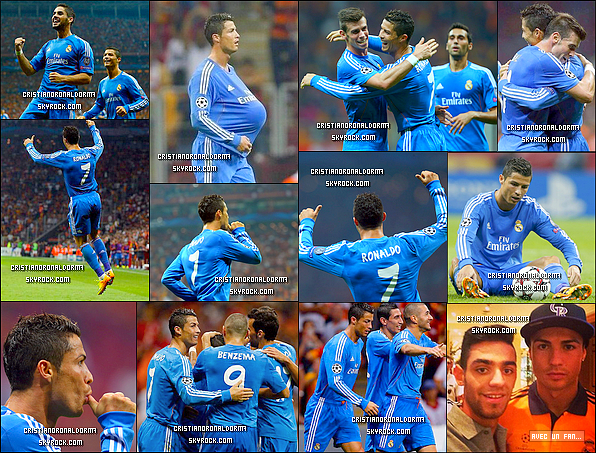 17/09/13 : Cristiano a disputé le match du Real face à Galatasaray avec un score de 6-1. Pour leur premier match de Ligue Des Champions, le Real commence fort, grâce à un triplé de Cristiano ( 63', 66', 91' ), un doublé de Benzema ( 54, 81'  ) et un but d'Isco ( 33' ). Petite pensée à Iker Casillas qui s'est bléssé en début de match :(