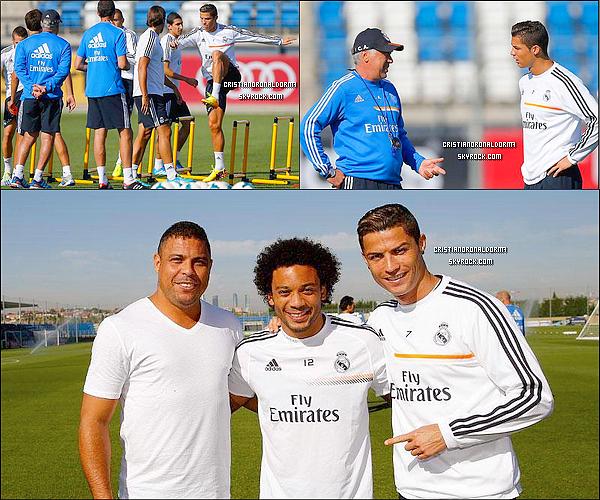 """24/09/13 : Cristiano était à l'entraînement du Real, le dernier entraînement avant le match face à Elche. Diffusion du match Real Madrid / Elche - 26/09 - 14h45 - Beinsport   ●● Ronaldo ( le Brésilien! ) a rendu visite à son ancien club : le Real , et accordé du temps à tous les joueurs dont ses anciens coéquipiers . Il a d'ailleurs parlé de Cristiano lors d'une entrevue .  ●● """"Cristiano est très bon. Il est devenu un joueur beaucoup plus complet ici et tout le monde est excité au sujet de le regarder jouer comme il le fait ici avec le Real Madrid. Venir ici a été très bon pour lui. Il a déjà marqué un grand nombre de buts pour Manchester United, mais ici, il marque beaucoup plus et il a développé un goût pour être un buteur."""""""