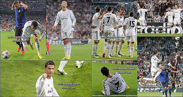 2/10/13 : Cristiano a disputé le 2ème match de LDC du Real de cette saison face à Copenhague Le Real s'est imposé 4-0 sur la pelouse de Bernabeu grâce à un doublé de Cristiano (21', 65') & d'un doublé de Di Maria (71', 90')