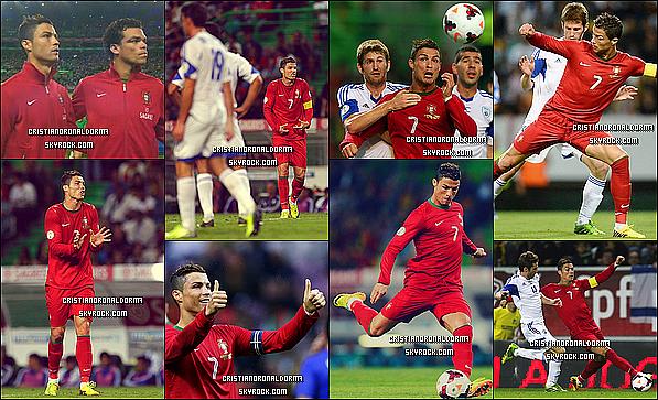 11/10/13 : Cristiano a disputé le match qui opposé le Portugal et l'Israël , et c'est un match nul 1-1  En 1ère mi-temps le Portugal dominé grâce à un but de R.Costa (27') mais suite à une erreur du gardien portugais, l'Israël arrache le match nul grâce à un but de Ben Basat (85')    # Déclarations  d'après-match de Cristiano