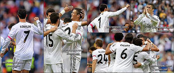 19/10/13 : Cristiano a disputé le match qui opposait le Real à Malaga , où le Real s'est imposé 2-0 . Grâce à un but de Di Maria(46') & de Cristiano(91'), le Real se classe à 3 points du Barça dans le classement de Liga