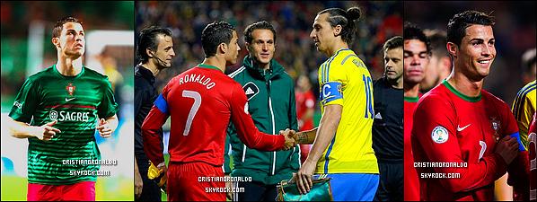 - 15/11/13 : Cristiano a disputé le match de barrage face à la Suède où le Portugal les a battu 1-0 Un pas de plus vers le Mondial 2014 pour le Portugal qui s'est imposé grâce à un but de Cristiano. Le match retour aura lieu le 19/11 -