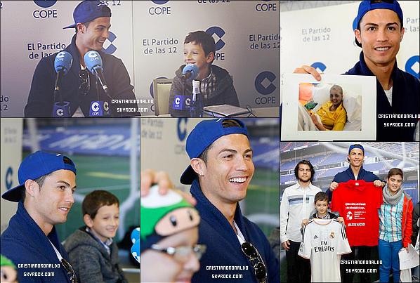 - 22/11/13: Cristiano s'est rendu à une interview aux côtés de quatre enfants atteints d'une leucémie Il a exprimé ses dons faits auparavant à des enfants malades, mais aussi est revenu sur ses derniers matchs. L'intégralité de l'interview ci-dessous. -