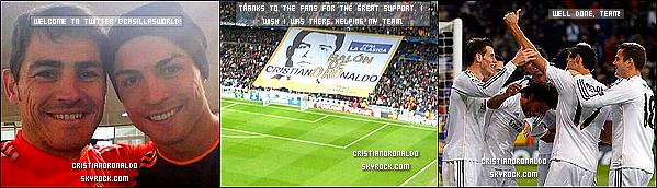 """- 27/11/13: Cristiano,étant blessé,était dans les tribunes du Bernabeu pour le match Real/Galatasaray Pour ce match, les supporters madrilènes ont apporté leur soutien, avec des masques et bannières. On peut y lire """"Ballon de CristianOROnaldo"""" . -"""