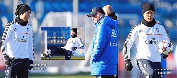 - 08/12/13 : Début des entraînements pour Cristiano avec le Real avant le match face à Copenhague Après l'entraînement, il s'est rendu à une conférence de presse aux côtés de Marcelo, Benzema, Casillas, Di Maria & Modric  -