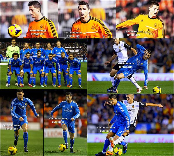 - 22/12/13 : Cristiano a disputé le match de Liga l'opposant à Valencia où il a marqué à la quarantième minute .  Le Real l'a finalement emporté 3-2 grâce à un but de Di Maria, de Cristiano & de Jesé. Le Real reste tout de même à cinq points du Barça & de l'Atlético . -
