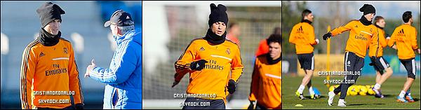 - 20/01/14 : Cristiano s'est rendu au dernier entraînement du Real avant d'affronter l'Espanyol Barcelone  Le 21 janvier, le Real Madrid affrontera l'Espanyol Barcelone pour les quarts de finale de la Coupe du Roi. Diffusion le 21/01 à 23H15 - BeinSport -