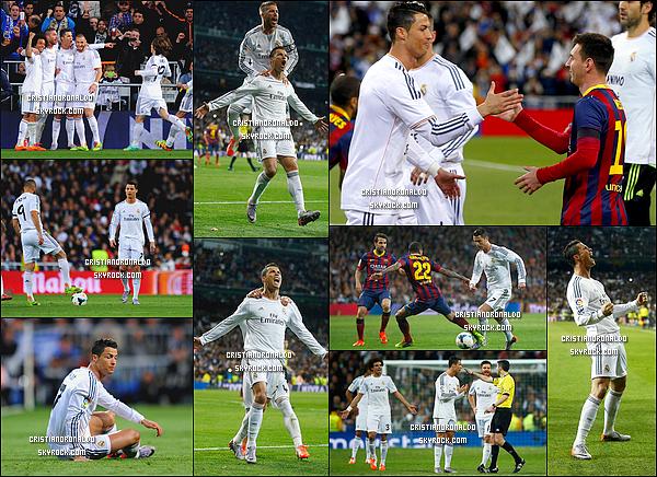 - 23/03/14 : Cristiano a disputait le match l'opposant au FC Barcelone, score finale 4-3 pour le FC Barcelone   Au terme d'un match titanesque, le Barça remporte le Clasico face au Real ( 3-4 ). Karim Benzema a inscrit un doublé et Cristiano  : un but sur penalty -