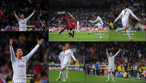- 26/04/14 : Cristiano a disputait le match de Liga qui opposait le Real et Osasuna, score final : 4-0 pour le Real  Cristiano a inscrit un doublé lors de ce match avant d'être remplacé à la 61ème minute par Casemiro. Le Real est 3ème provisoirement du classement  -