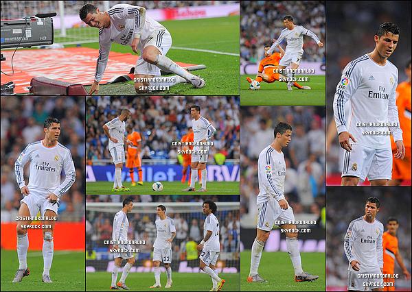 - 04/05/14 : Cristiano a disputait le match de Liga qui opposait le Real Madrid et Valence. Score final : 2-2  Grâce à un but de Sergio Ramos et de Cristiano, le Real arrache le match nul et reste à cinq points de l'Atlético Madrid avec un match de retard   -
