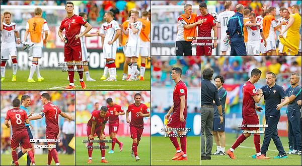 - 16/06/14 : Cristiano a disputé le premier match du Portugal en coupe du monde 2014 face à l'Allemagne  L'Allemagne de Thomas Müller, auteur d'un triplé, a dominé 4-0 le Portugal d'un Cristiano Ronaldo transparent et réduit à 10 avec l'exclusion de Pepe  -