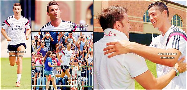 - 28/07/14 : Cristiano a participé à la dernière séance d'entraînement du Real Madrid à l'UCLA, Los Angeles  Avant de s'envoler pour Dallas, les hommes de Carlo Ancelotti se sont entraînés et ont aussi reçu la visite du joueur italien Alessandro del Piero   -