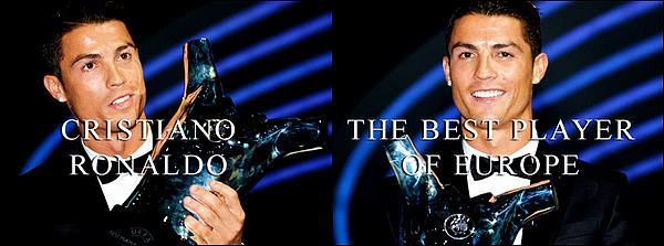 - 28/08/14 : Cristiano a été élu meilleur joueur UEFA 2014 lors du tirage de la Ligue des champions, à Monaco   C'est finalement Cristiano qui reçoit le prix des mains de M.Platini après avoir établi de multiples records cette saison avec le Real. Mérité ? -