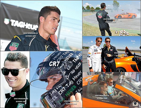 - 01/09/14 : Cristiano initié à la formule 1 par J.Button lors d'un événement organisé par Tag Heuer, à Madrid  Cristiano Ronaldo s'est offert une petite journée de détente. Grâce à son sponsor, CR7 a retrouvé Jenson Button pour quelques tours de circuits  -