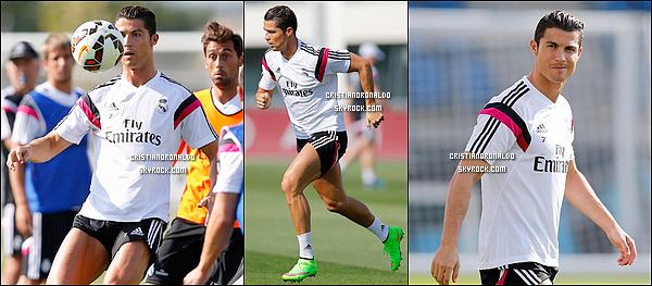 - 09/09/14 : Cristiano Ronaldo a repris le chemin de l'entrainement ce mardi à Valdebebas avec le Real Madrid  Le Portugais a participé à plusieurs jeux collectifs avec le ballon, travaillant toutefois beaucoup de son côté pour reprendre sa forme physique.  -