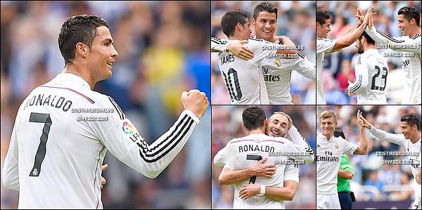- 20/09/14 : Hat-trick impressionnant de Cristiano lors du match de Liga Real Madrid face à La Corogne  Le triplé de Ronaldo, les doublés de Bale et Chicharito et la superbe frappe de James ont scellé la victoire du Real Madrid huit buts à deux   -