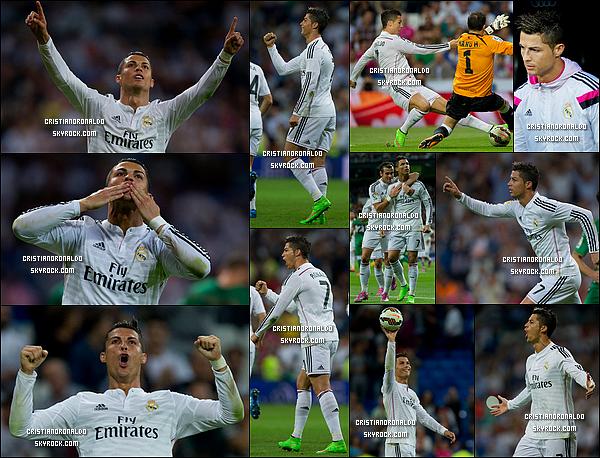 - 23/09/14 : Le Real Madrid atomise Elche 5-1 en Liga notamment grâce aux quatre buts de Cristiano Ronaldo  En marquant 4 buts face à Elche et il a atteint les 187 buts en Liga. Il dépasse Santillana et devient le 3ème meilleur buteur merengue en Liga  -