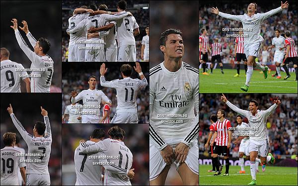 - 05/10/14 : Carton pour le Real Madrid (5-0) contre l'Athletic Bilbao avec un autre triplé de Cristiano Ronaldo Le triplé du Portugais et le doublé de Benzema marquent le sixième triomphe des Merengues dans un Santiago Bernabéu conquis par son équipe.  -