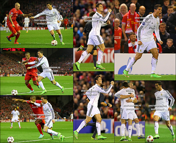 - 22/10/14 : Festival historique à Anfield pour le Real Madrid qui s'est imposé logiquement face à Liverpool 3-0 Le doublé de Benzema et l'ouverture du score de Cristiano Ronaldo ont mis à terre Liverpool lors d'une première mi-temps somptueuse -