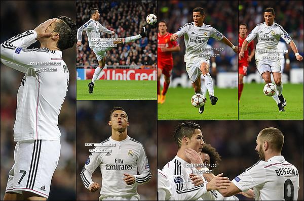 - 04/11/14 : Le Real Madrid s'impose facilement face à Liverpool 1-0 et se qualifie déjà pour les 8èmes de finale   Le Real Madrid a fait tomber Liverpool grâce à un but de Benzema. Cristiano, plutôt discret lors de ce match, attendra pour battre le record de Raúl.  -