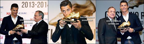 - 05/11/14 : Encore un trophée pour Cristiano qui a reçu le soulier d'or récompensant ainsi sa saison 2013/2014   + Le 10/11, l'attaquant portugais a reçu le prix Di Stefano du meilleur joueur de la saison et le prix du Pichichi du meilleur buteur de Liga  -