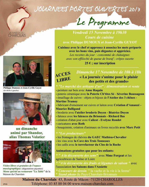 Journée Portes ouvertes le 17 novembre 2013 à CHAROLLES (71)